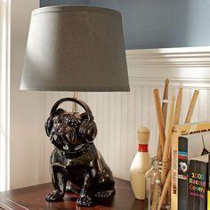 """The """"Rockin' Bulldog Lamp Base"""" by Pottery Barn. Rad."""
