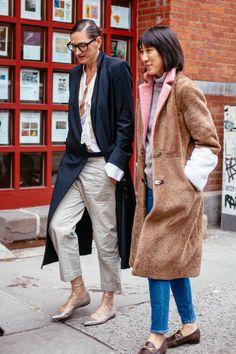 New York Fashion Week street style, Jenna Lyons & Eva Chen