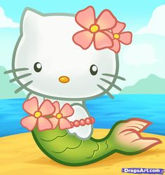 how to draw hello kitty | How to Draw Mermaid Hello Kitty, Step by Step, Characters, Pop Culture ...