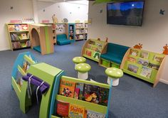 Toadstool seating in school themed library reading corner