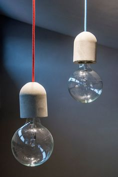 Concrete Pendant Lamp with Concrete Lamp Holder by AManoDesignIT