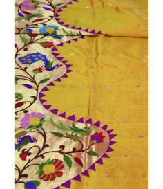 Yellow flower work Handloom Paithani Saree