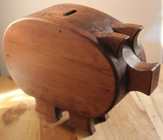 Large and magnificent mid-century wood piggy bank! Terrific! Some Pig!
