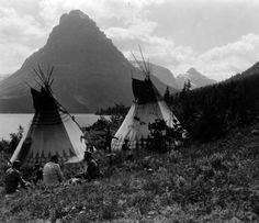 Blackfeet Indian encapment on shore of Two Medicine Lake Glacier National Park MT.