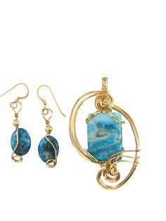 BLUE CRAZY LACE AGATE GEMSTONE JEWELRY SET 14 K GOLD FILL WIRE  #Handmade
