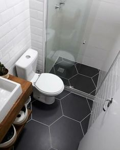 Simple And Sweet Black And White Garage Bathroom In 2019