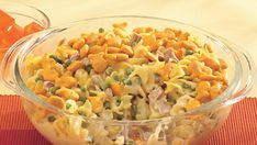 Fish-shaped crackers swim atop a cheesy casserole made with simple ingredients you keep on hand.