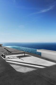 Olivier Dwek Architectures - Silver House on Zakynthos island, Greece, 2015 - photo by Serge Anton Architecture Photo, Amazing Architecture, Minimal Architecture, Zakynthos Greece, Pond Water Features, Beautiful Pools, Tenerife, Cool Pools, Pool Designs