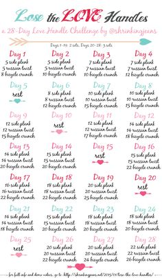 Lose the Love Handles: A FREE 28-Day Love Handle Shrinking Challenge #workoutcalendar #fitnesschallenge