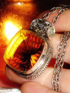 ENCHANTED Soul of Goddess Freyja - Madeira Citrine - Antique Sterling Talisman - Meditation, Dreams, Decisions, Balance, Happiness, Love