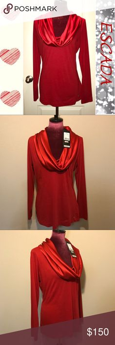 ❤️NWT ESCADA Blouse with Silk Cowl Neck❤️ This NWT red ESCADA long sleeve blouse features a relaxed silhouette design with a beautifully draped cowl neck made of 100% silk. The rest is 100% cotton. Made in Turkey. Escada Tops Blouses