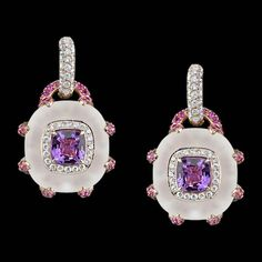Robert Procop pink sapphire and crystal earrings.