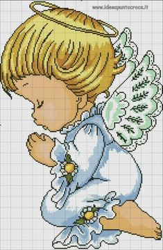 Risultati immagini per precious moment angioletto Baby Cross Stitch Patterns, Cross Stitch For Kids, Cross Stitch Baby, Hand Embroidery Patterns, Cross Stitch Designs, Stitch And Angel, Cross Stitch Angels, Cross Stitching, Cross Stitch Embroidery