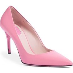Pre-Owned Fendi Anne Pink Leather Pointy Toe Pumps Sz 39.5 High Heel... ($441) ❤ liked on Polyvore featuring shoes, pumps, pink, pink high heel shoes, high heeled footwear, pointy-toe pumps, leather shoes and fendi shoes
