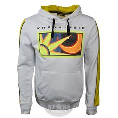 New Official Valentino Rossi Sun and Moon Zip Hoodie in White is part of this seasons Official Valentino Rossi merchandise range. This quality white zip hoodie features Valentino Rossi's famous sun and moon logo on the front and the Moto Gp number 46 on the back.