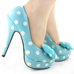 Polka Dot Bow Stiletto Platform High Heel Pumps