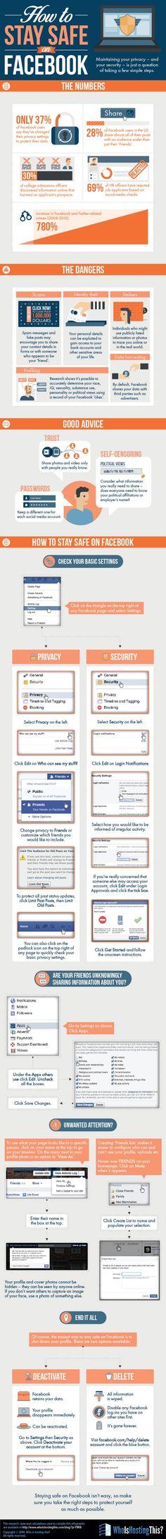 Hola: Una infografía sobre Cómo estar seguro en FaceBook. Vía Un saludo