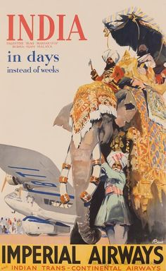 India travel vintage poster