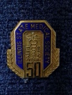 Pin Back Lapel Vintage Illinois State Medical Society 50 year club screw back Nursing Pins, Vintage Nurse, Illinois State, Nursing Graduation, Medical, Club, Personalized Items, Usa, School