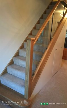 Oak staircase renovation incorporating toughened glass secured with steel clamps – Panissue Share – Home Renovation Staircase Storage, House Staircase, Staircase Railings, Wooden Staircases, Banisters, Stair Storage, Stairways, Flooring For Stairs, Oak Stairs