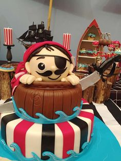 Pirate birthday party cake!  See more party planning ideas at CatchMyParty.com!
