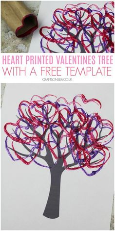 heart printed valentines tree craft for kids cardboard tube #preschool #kidscrafts #valentinesday