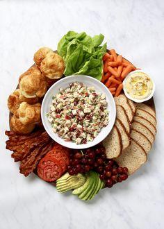 Build-Your-Own Chicken Salad Sandwich Board   The BakerMama Chicken Salad Croissant, Croissant Sandwich, Chicken Salad Recipes, Chicken Salads, Sandwich Fillings, Salad Sandwich, Sandwich Board, Sammy, Food Platters
