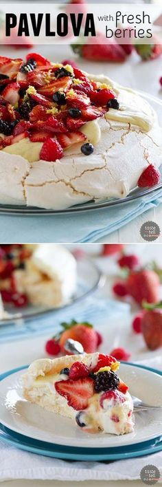 A light and delicate meringue cake is topped with whipped cream, silky creme anglaise and lots of berries in this Pavlova Recipe with Fresh Berries.