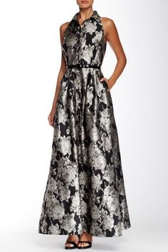 Carmen Marc Valvo Printed Collared Gown