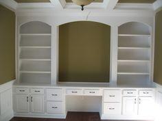 Luxury Home: Home Office, Custom Built Wall Unit, Book Shelves, Desk, Madison Custom Homes, Inc., Indianapolis, Indiana
