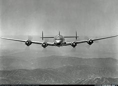 Lockheed C-69 Constellation (L-049) ~ The ninth C-69 for the USAAF first flew on 19 April 1945. It is seen over the Sierra Nevada wearing its c/n on either side of its nose. To Howard Hughes as N67901 in 1946 and TWA as L-049 N90830 in November 1948. From Lockheed 60 years ago.