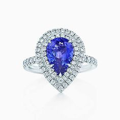 Tiffany Soleste ring in platinum with diamonds and a tanzanite.