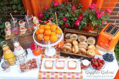 Brunch Bagel Bar Party -look closely  - love the mason jars with straws!!!