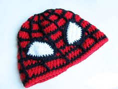 Little Things Blogged: {Crochet Spiderman Hat} Uses Spiderweb beanie, but black where red was and red where black was.  The eyes are crocheted in white and attached.