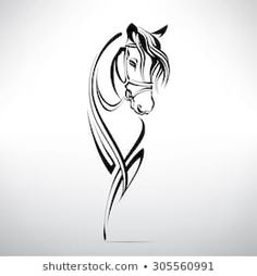 Similar Images, Stock Photos & Vectors of Vector silhouette of a horse's head - 645837871 Horse Head Drawing, Horse Drawings, Art Drawings, Painted Horses, Tattoo Caballo, Horse Tattoo Design, Tattoo Horse, Horse Stencil, Horse Silhouette