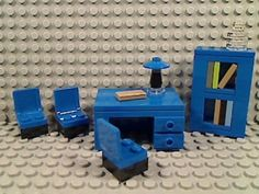 Lego Retro Blue Office Desk Book Shelf Chairs Lamp Home Study Library Den City | eBay