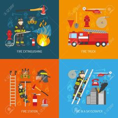 Firefighters work concept 4 flat icons square composition banner with fire station equipment abstract isolated vector illustration Stock Vector - 56988258