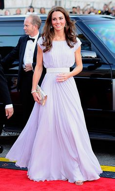 Kate opted for a pretty pastel Alexander McQueen dress for the BAFTA Brits to Watch event in Los Angeles. With a cinched waistband, soft pleats and complementing silver clutch, it was the epitome of Hollywood glamour.  Photo: Getty Images