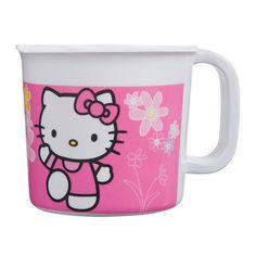 Hello Kitty beker 7,5 cm. Plastic Hello Kitty beker van 8 x 7,5 cm groot, gemaakt van polypropyleen. De beker is niet geschikt voor warme dranken of om te gebruiken in de magnetron en vaatwasser. Met de hand afwassen.