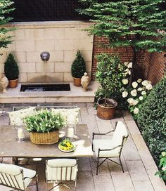 Thinking Outside The Boxwood: Steal this Look - Crisp Green and White Courtyard