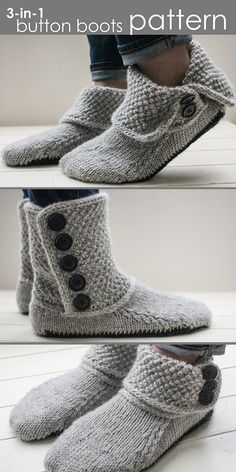 Knitting Pattern for Button Boots - Style these slipper boots three diffe. Knitting Pattern for Button Boots - Style these slipper boots three different ways … fully buttoned, folded over,. Knitted Slippers, Slipper Boots, Crochet Shoes, Shoes With Jeans, Boots Style, 1 Button, Double Knitting, Knitting Socks, Free Knitting