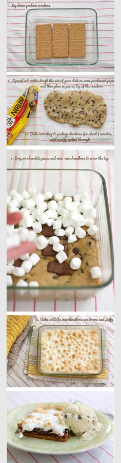 Baked Smores This looks really decadent !!! Had to make a huge 1/2 sheet cake pan for my daughters birthday (as a third cake) and people FOUGHT over it!  DELICIOUS!!