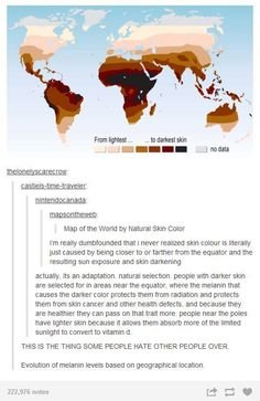 Melanin production in relation to closeness of equator