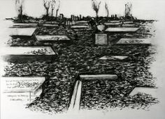 Adrian Henri (1932–2000)  Study for Graveyard, Haworth Parsonage cp II-040, 1994  Pencil and charcoal on paper  © Estate of Adrian Henri, by permission of Catherine Marcangeli