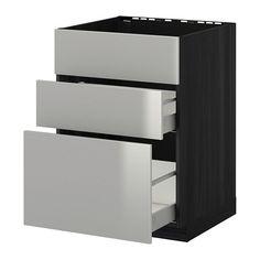 METOD / MAXIMERA Benkesk f oppv +3 fr/2 sk - tremønstret svart, Grevsta rustfritt stål, 60x60 cm - IKEA