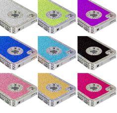 Bling-Diamond-Rhinestone-Aluminum-Metal-Back-Case-Cover-For-Apple-iPhone-4-4S