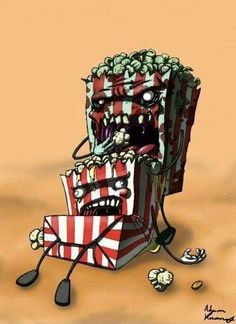 Zombie Popcorn LOL You're not even safe at the concession stand. Horror Art, Horror Movies, Scary, Creepy, Zombie Vampire, Zombie Attack, Zombie Art, Illustrations, Zombie Apocalypse