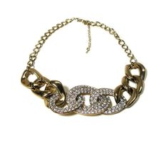 80s Rhinestone Choker Gold Tone Link Necklace by MorningGlorious
