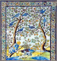 CENA DE CAÇA (1670). Pormenor da metade esquerda de painel de azulejos (154 x 286cm), fabrico de Lisboa. Museu de Lamego.