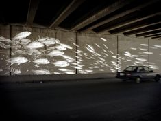 Conceptual rendering of a reflective paint mural to activate the I-95 underpass on Columbia.